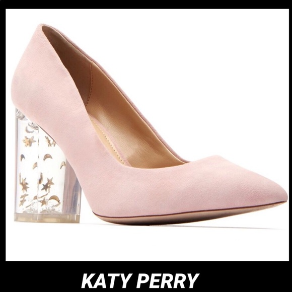 6fa7f1b2eb8 KATY PERRY•THE HILLARY SUEDE STAR MOON LUCITE HEEL